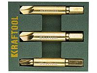 Набор экстракторов KRAFTOOL для выкручивания крепежа с износом граней шлица до 95%.PH1/PZ1,PH2/PZ2,PH3/PZ3,3