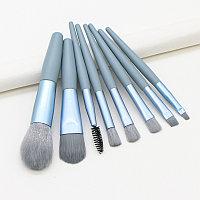 Кисти для макияжа голубые, набор из 8 штук