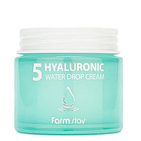 Увлажняющий крем для лица из 5 типов гиалуроновой кислоты  FARMSTAY 5 HYALURONIC WATER DROP CREAM 80ml.