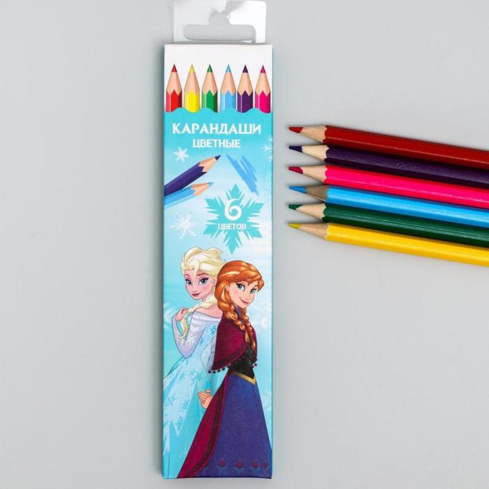 Карандаши цветные, 6 цветов Frozen, Холодное сердце