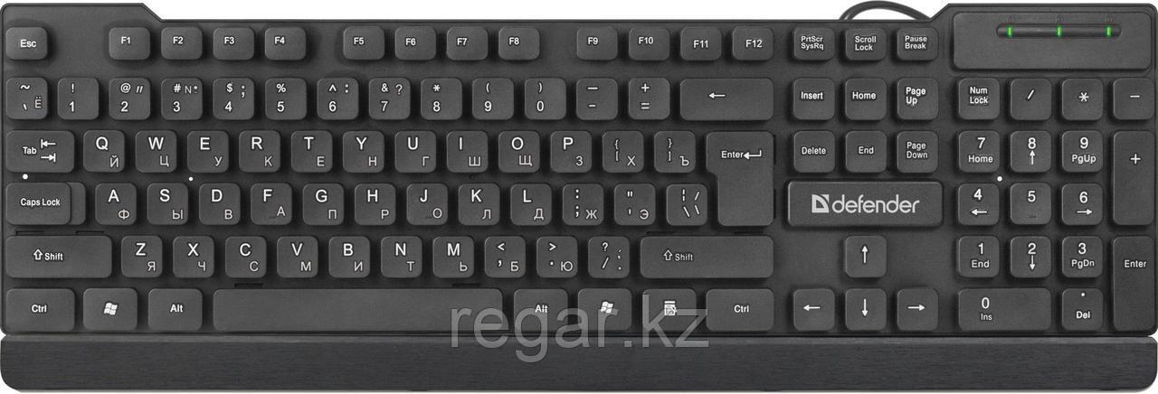 Клавиатура проводная Defender Element HB-190 USB RU,черный,полноразмерная