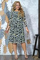 Женское осеннее шифоновое большого размера платье Alani Collection 1369 52р.