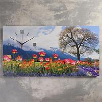 """Часы на холсте """"Цветочное поле"""", 50х100 см, микс"""