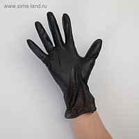 Перчатки виниловые, размер L, 100 шт/уп, 9 гр, цвет чёрный
