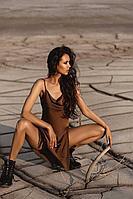 Женское летнее из вискозы коричневое нарядное платье SUNITSA 202 шоколад 42р.