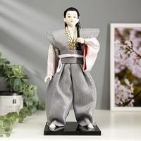 Кукла коллекционная 'Самурай в сером кимоно с мечом' 30х12,5х12,5 см