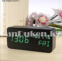 Настольные цифровые часы с будильником от сети и электрические с календарем под дерево черные