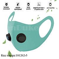 Многоразовая маска с защитой от холода и пыли с 2 респираторами Fashion mask бирюзовый