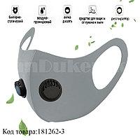Многоразовая маска с защитой от холода и пыли с 2 респираторами Fashion mask серая