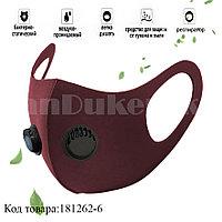 Многоразовая маска с защитой от холода и пыли с 2 респираторами Fashion mask красный