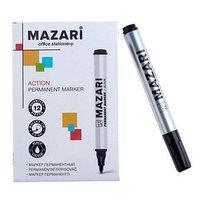 Маркер перманентный Mazari Action, 2.0 мм, чёрный (комплект из 12 шт.)
