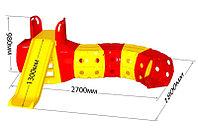 Горка с тоннелем Doloni красно/желтый