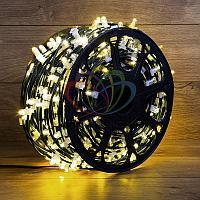 """Уличная LED гирлянда """"Клип-лайт"""" - 100 метров, 660 лампочек, тёпло-белый свет, каждая 5 лампочка мерцает"""