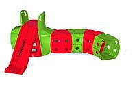 Горка с тоннелем Doloni красно/зеленый