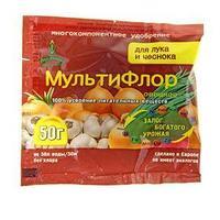 Сухое удобрение в хелатной форме МультиФлор для лука и чеснока 50 г.