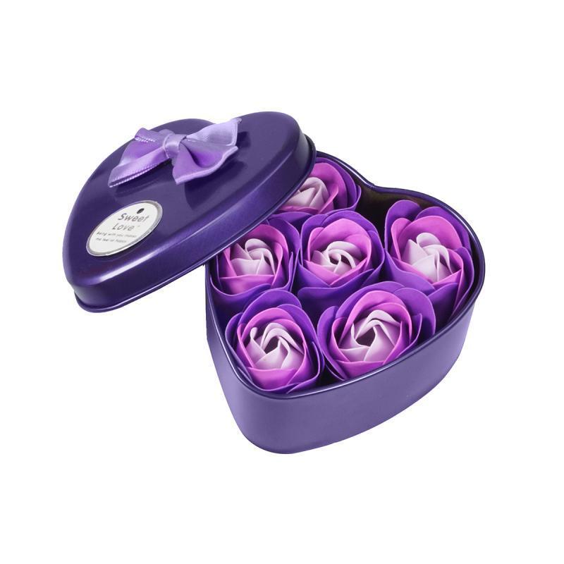 Уценка (товар с небольшим  Ароматизированное мыло для ванны Розы с лепестками 6 шт фиолетовый набор