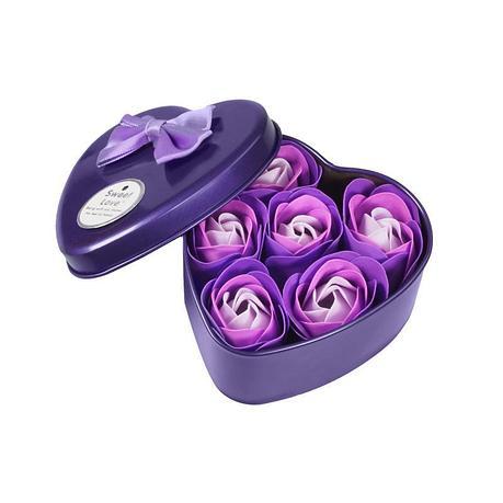 Уценка (товар с небольшим  Ароматизированное мыло для ванны Розы с лепестками 6 шт фиолетовый набор, фото 2