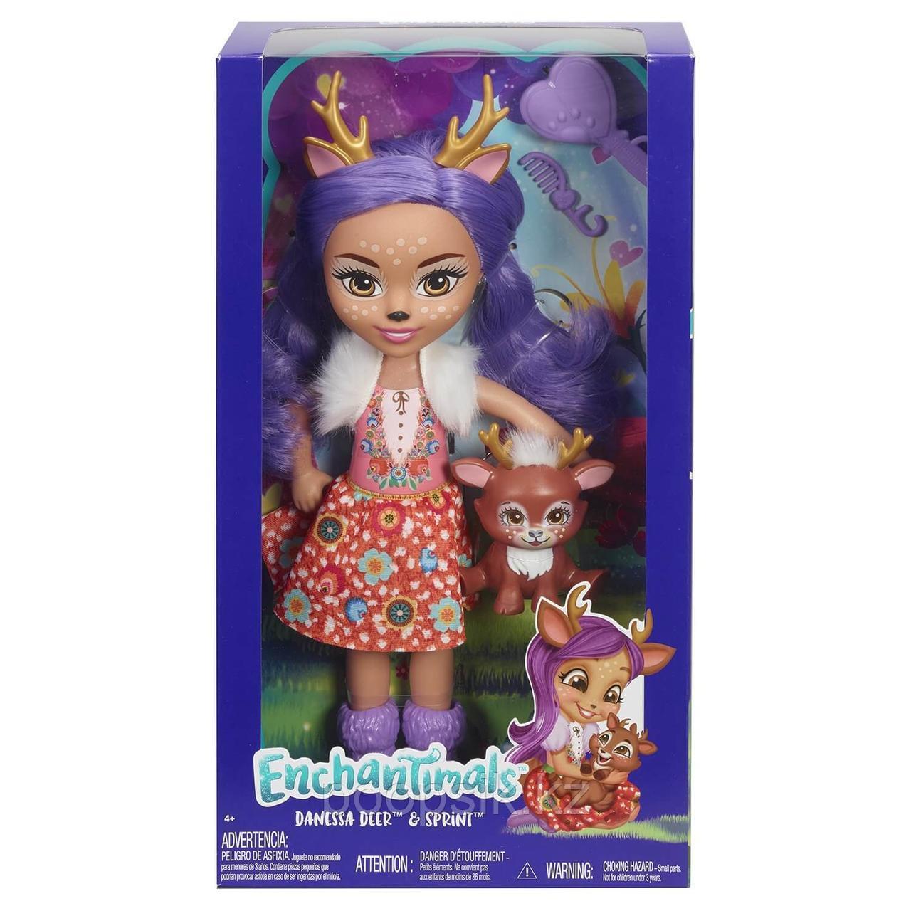 Enchantimals Данесса Олени большая кукла с питомцем FRH51 - фото 1