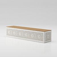 """Скамья """"Onda bench C5"""" с гравировкой из мраморного композитного камня с деревянным настилом"""