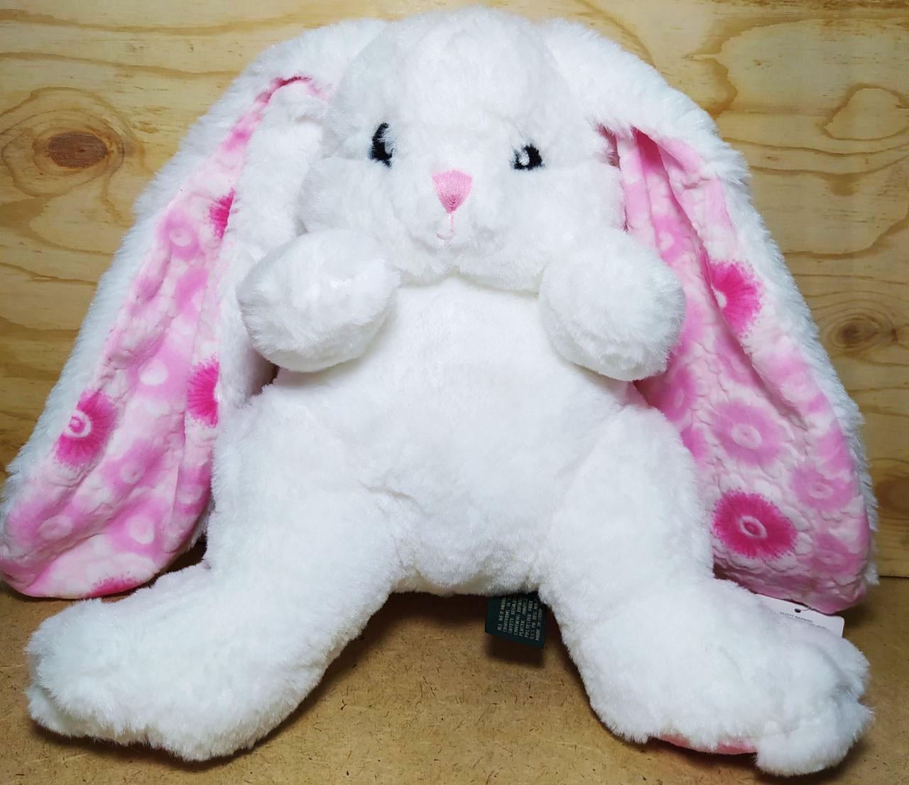 Зайчик средний белый розовые ушки и лапки 30см 29шт
