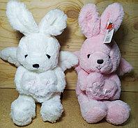 Зайчик розовый и белый с крыльями и сердцем 24 см 30шт