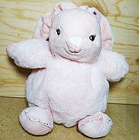 Зайчик маленький розовый с колокольчиком внутри,19см