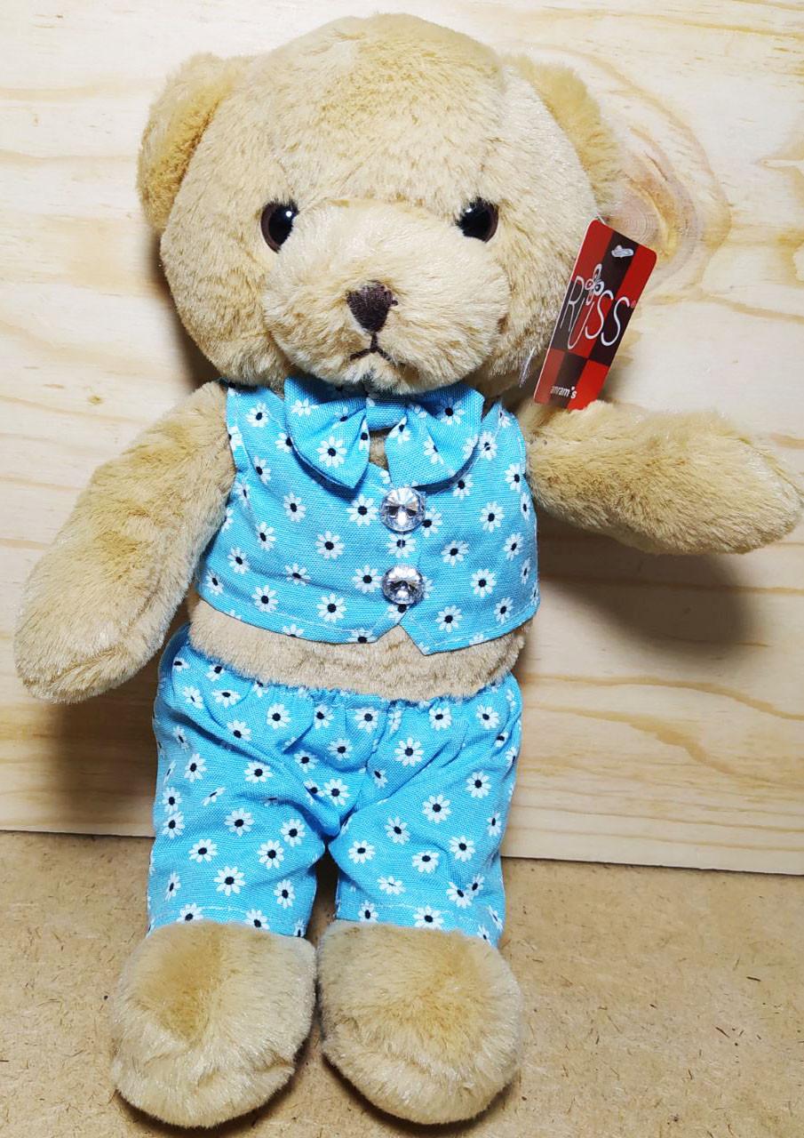 Мишка коричневый в голубом костюме 28см