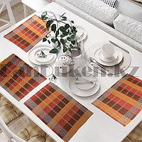 Салфетки сервировочные под тарелки набор 4 в 1 из бамбука плетеные оранжевые коралловые бордовые