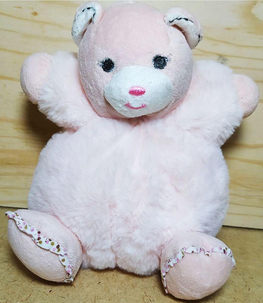 Мишка розовый пушистый 19см
