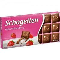 Schogetten шоколад молочный, клубничный йогурт, 100 гр