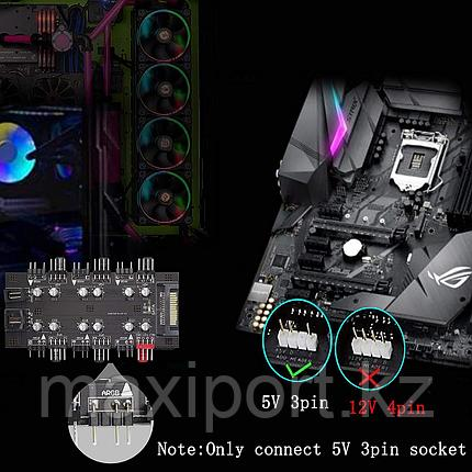 Pwm Argb Синхронизатор 8 портов подсветки + 8 портов 4pin для вентиляторов, фото 2