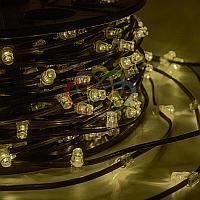 """Уличная световая гирлянда """"Клип-лайт"""" - 100 метров, 660 лампочек, тепло-белый свет, постоянное свечение"""