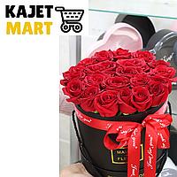 Букет 25 роз в шляпной коробке