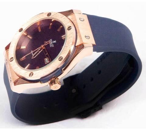 Часы наручные мужские реплика Hublot Geneve Big Bang (Бронза, синий ремешок)