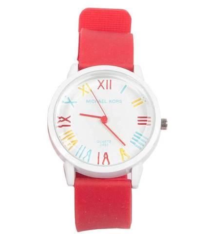 Часы наручные реплика Michael Kors MK-2491 на силиконовом ремешке (Красный)