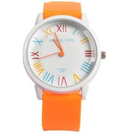 Часы наручные реплика Michael Kors MK-2491 на силиконовом ремешке (Оранжевый), фото 2