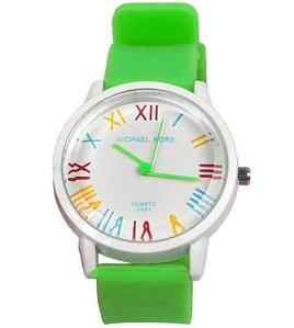 Часы наручные реплика Michael Kors MK-2491 на силиконовом ремешке (Зеленый)