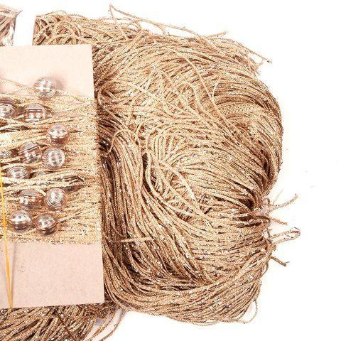 Штора-лапша веревочная «Кисея-занавес из нитей» {3 x 3 метра} (Золотой / с бусинами)