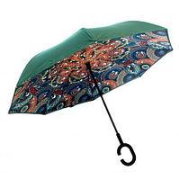 Чудо-зонт перевёртыш «My Umbrella» SUNRISE (Зеленые узоры)