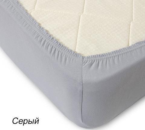 Простынь на резинке из трикотажной ткани от Текс-Дизайн (120x200 см / Серый)