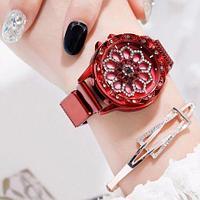 Часы женские наручные «Бриллиантовый цветок» с вращающимся циферблатом и магнитным ремешком (Красный)