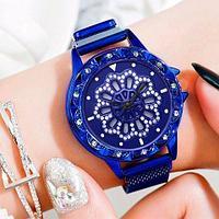Часы женские наручные «Бриллиантовый цветок» с вращающимся циферблатом и магнитным ремешком (Синий)