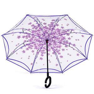Чудо-зонт автоматический прозрачный «Перевертыш наоборот» (Фиолетовые цветы)
