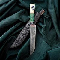 Нож Пчак Шархон - рукоять кость Малахит (14-28см)