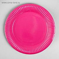 Тарелка бумажная, однотонная, 18 см, набор 6 шт., цвет малиновый