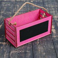 """Кашпо деревянное 25.5×12×12.4 см уникальное """"Баллада"""", с грифельной доской, ручка, розовый"""