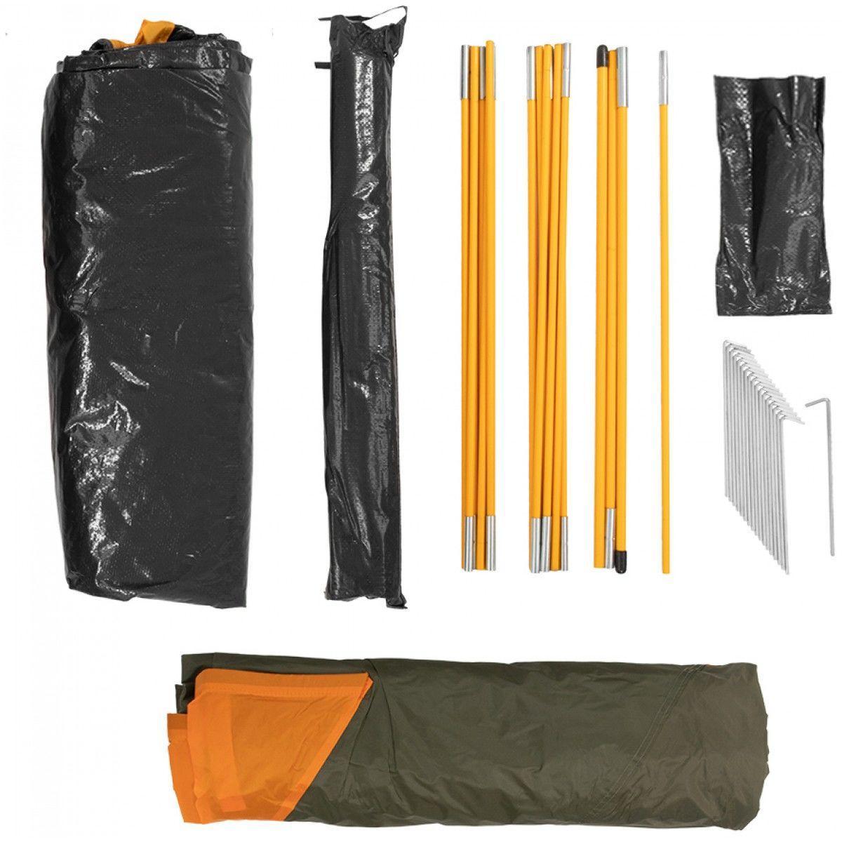 Палатка MUSSON-4 Helios зеленый-оранжевый HS-2366-4 GO - фото 7