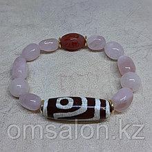 Браслет из розового кварца с бусиной Дзи 2 Глаза
