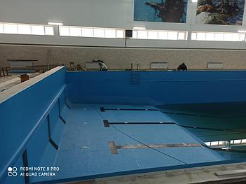 Реконструкция бассейна ПВХ лайнером Haogenplast Blue 8283, г.Актау 3