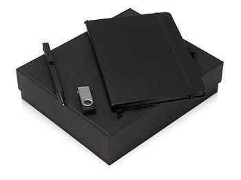 Подарочный набор Q-edge с флешкой, ручкой-подставкой и блокнотом А5, черный